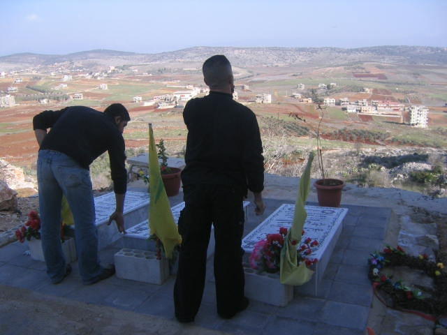 Meiss al Jabal, Lebanon: resistance fighters honor comrades killed in July 2006 war, another instance of Israeli insistence on historical repetition. (Photo by Amelia Opalinska.)