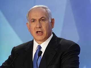 Benjamin Netanyahu delivers a speech in Ramat Gan near Tel Aviv Sunday (AP Photo)
