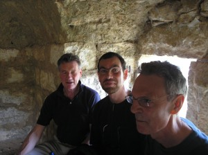 Michael Palin, Robin Yassin-Kassab and Jeremy Harding in a 'qasr' near Ain Qenya, Ramallah