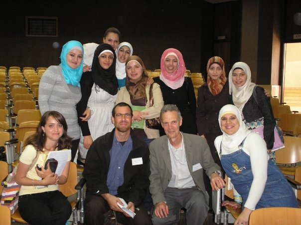 Robin Yassin-Kassab and Jeremy Harding with students at Bir Zeit.