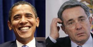 Barack Obama and Alvaro Uribe.