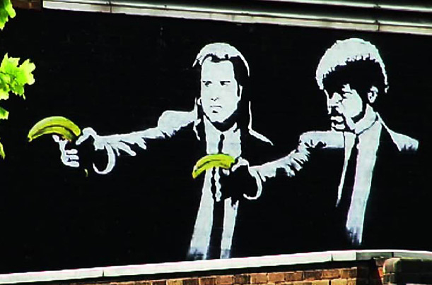 """""""Pulp Fiction Bananas"""" by Banksy, once near Old Street Tube Station, London, now whitewashed.  From http://www.toptenz.net/top-10-images-by-street-artist-banksy.php"""