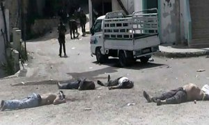 a scene from the sectarian massacre in al-Bayda, May 2013