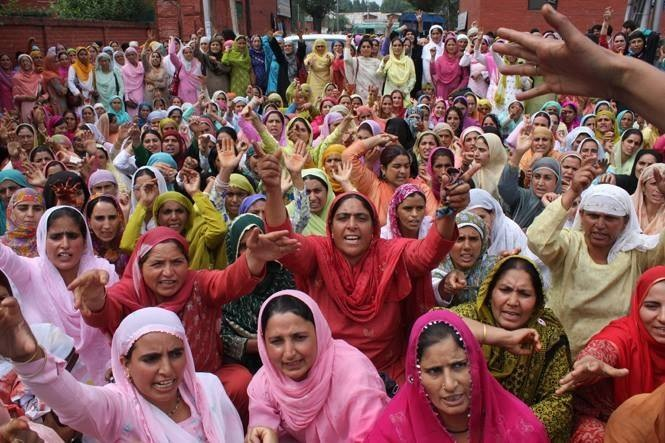 Women protesting in the Press Enclave, Lal Chowk, Srinagar, against the double rape and murder of Shaheed Aasiya and Shaheed Nilofar, from Shopian, by the Indian Occupation Army. 2009  Photo Credit: Bilal Bahadur