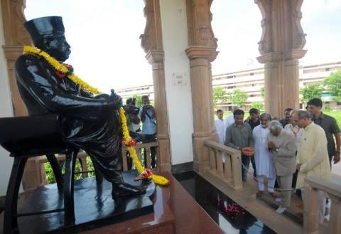 Nagpur July 31, 2014: Senior scientist and Former President of India Dr APJ Abdul Kalam visited RSS headquarters near Reshimbagh Nagpur and offered tributes to (Hindu Nationalist) RSS Founder Dr Keshav Baliram Hedgewar at 'Smruti Mandir' Nagpur.