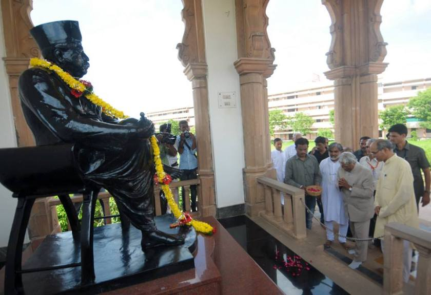 Nagpur July 31, 2014: Senior scientist and Former President of India Dr APJ Abdul Kalam visited RSS headquarters near Reshimbagh Nagpur and offered tributes to (Hindu Nationalist) RSS Founder Dr Keshav Baliram Hedgewar at 'Smruti Mandir' Nagpur.