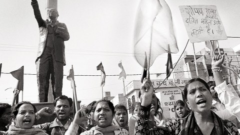 "Photo by Thenmozhi Soundararajan, ""Dalit Women's Self-Respect Yatra begins in Kurukshetra at the feet of Dr. Ambedkar!,"" February 27, 2014."